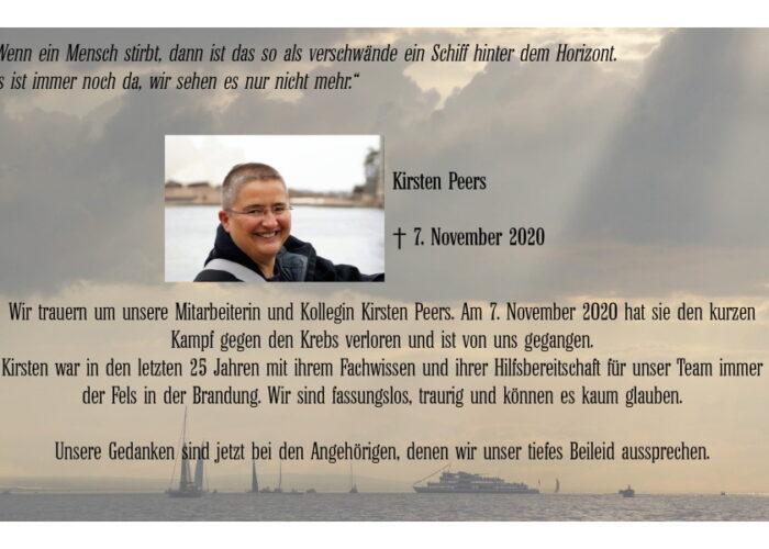 Wir trauern um Kirsten Peers